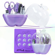 Elite99 9pcs Apple Stainless Steel Nail Care Personal Manicure,Travel Grooming Kit Suit Tools,Nail clippers+Eyebrow Scissors+Tweezers+Nail File+Cuticle Trimmer+Acne Needle+Earpick+Mirror,Purple