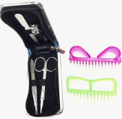 Stainless Steel Manicure Pedicure Set Scissors Nail-Clippers Tweezers Nail file and Two Nail Brushes