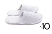 Waffle Cotton Cloth Slipper Slippers Salon Spa Hotel Men Women Closed Toes - 10 Pairs - White