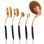 BeautyCoco 5 Pcs Rose Gold Oval Makeup Brush Set Professional Foundation Contour Concealer Blending Cosmetic Brushes