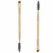 Leoy88 Thin 1PCS Makeup Bamboo Handle Double Eyebrow Brush + Eyebrow Comb