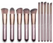 Qivange Kabuki Brush Set,Soft Foundation Bronzer Concealer Eyeshadow Cosmetic Brushes with Pouch