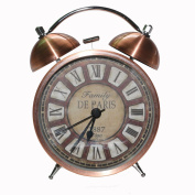 LambTown 10cm Vintage Metal Double Twin Bell Desk Alarm Clock Silent Non Ticking with Nightlight for Bedroom Roman Numerals