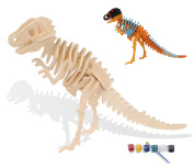 iPuzzle 3D Wooden Puzzle-Dinasour Tyrannosaurus Puzzle Model Toys-With Painting Tools
