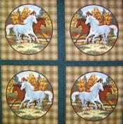 """Horseshoe Bend """"Horses in the Pasture"""" Fabric Pillow Panel (Great for Quilting, Sewing, Craft Projects, Throw Pillows & More) 90cm X 110cm"""