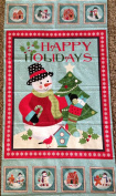 """""""HAPPY HOLIDAY SNOWMAN"""" on Light Blue Cotton Fabric (Great for Quilting, Sewing, Craft Projects, a Quilt, Throw Pillows & More) Panel X1"""