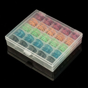Shopline 25 Pcs Empty Clear Colourful Bobbin with Case