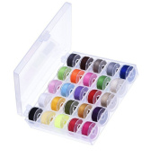 Dreamtop Bobbin Case with 25 Pcs Clear Bobbins and Assorted Colours Sewing Thread for Brother Singer Babylock Janome Kenmore Singer