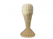 Mannequin Wicker Narrow Shape Rattan Head Wig Stand Handcraft Antique Display Handmade