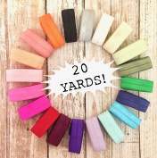 20 Yards of Assorted Fold Over Elastic (1 yd. of each colour) Hair Tie, Headbands, Sewing, Crafts