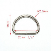 Metal D Ring 1.9cm Non Welded Nickel Plated Pack Of 50
