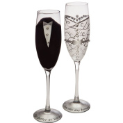 """Cypress Home Hand-Painted 240ml Bride and Groom Wedding Champagne Toasting Flute Glasses, Set of 2 - Metallic Accents - 6.75""""W x 4""""D x 11""""H"""