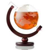 Large Etched Globe Whiskey Decanter with Glass Ship - 30oz (850ml) for Scotch, Bourbon, Rum, Liquor, Wine