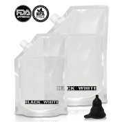 (2) Black & White Label Premium Plastic Flasks Liquor Rum Runner Flask Cruise Kit Sneak Alcohol Drink Wine Pouch Bag Set Heavy Duty Reusable Concealable Flasks For Booze