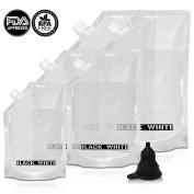 (5) Black & White Label Premium Plastic Flasks Liquor Rum Runner Flask Cruise Kit Sneak Alcohol Drink Wine Pouch Bag Set Heavy Duty Concealable Flasks For Booze