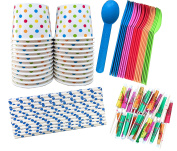 Outside the Box Papers Ice Cream Sundae Kit - Polka Dot Paper Cups, Plastic Spoons, Polka Dot Paper Straws, Paper Umbrellas 24 of Cups, Spoons, Umbrellas - 50 Straws Blue, Pink, Orange, Yellow, Green