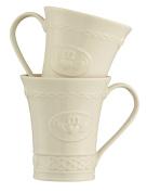 Belleek Group 4131 Claddagh Mug, 300ml, Ivory, Set of 2
