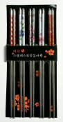 5 Pairs Stainless Steel Chopsticks Beautiful Gift Set Assorted