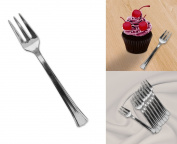 Mini Silver Disposable Dessert And Appetiser Forks Set Of 48, 11cm