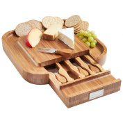 VonShef Square Slide Out Bamboo Cheese Board and 4 Piece Knife Set