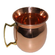 STREET CRAFT 100% Authentic Copper Old Fashion Smooth Moscow Mule Mug with Flat Lip, Copper Moscow Mule Mugs / Cups Copper Brass Handle