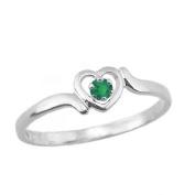 4 1/2 Girls 14K White Gold Birthstone Ring For Children, Preteens And Teens