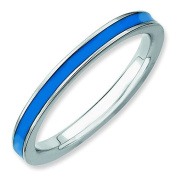 Sterling Silver Stackable Expressions Blue Enamelled 2.25mm Ring - Ring Size Options