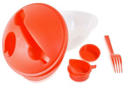 Salad Lunch Caddy With Matching Fork, Dressing Cup & Snap-on Cover - Red.