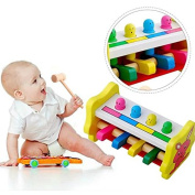 New Arrival Knock Tables Pounding Bench, Striking Preschool Children Piling Beat Hammer Percussion Wooden Educational Toys For 1-12 Years Kids.