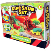 New Dinosaur 4 Ports Play Clay Modelling Dough Set Fun With Tool and Moulds TY367