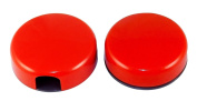 Pair of 2 Magnetic for Pen and Memo Holders, Round, Plastic - Red.