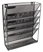 EasyPAG Mesh Wall Mounted File Holder Organiser Literature Rack 5 Compartments Black