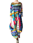 Youlee Women's Abstract Printed Cotton Linen Dress for Autumn