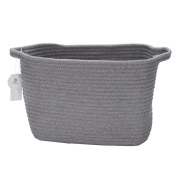 Sea Team 10 Natural Cotton Thread Woven Rope Storage Basket Bin Hamper with Handles for Nursery Kid's Room Storage (Grey) by Sea Team