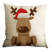 Elaco Christmas Elk Deer Pillow Case Throw Cushion Cover Sofa