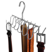 Evelots 14 Hook Chrome Tie, Belt, & Scarf Hanger Closet Storage Space Saver Rack