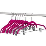 Home-it 10 Pack Clothes Hangers with clips PINK Velvet Hangers use for skirt hangers Clothes Hanger pants hangers Ultra Thin No Slip