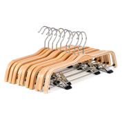 10-Pack Light Wooden Hangers, Royalhanger Pants and Clothes Wood Hanger with Clips,Natural Finish