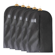 Fu Global Garment Bag Covers for Luggage, Dresses, Linens, Storage or Travel 110cm Suit Bag with Clear Window Pack of 5