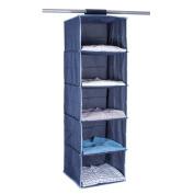 StorageManiac 5-shelf Hanging Closet Organiser with Loop Closure - Dark Blue