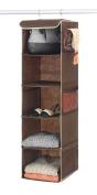 "Zober 5-Shelf Hanging Closet Organiser - 6 Side Mesh Pockets Breathable Polypropylene Hanging Shelves - for Clothes Storage and Accessories, (Java) 30cm x 11 ½ "" x 110cm"