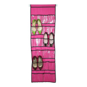 Smart-Home 22-Pocket Shoe Organiser Hanging Shoe Storage Unit For Closet or Garment Rack's Pole Use [Pink, For Max 3.8cm Closet Pole (DO NOT INCLUDED POLE)]