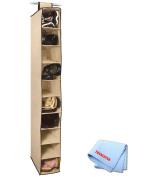 10 Shelf Hanging Closet Organiser in Beige + Tronix Microfiber Cleaning Cloth