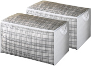 """Zober Jumbo Blanket, Storage Bags with Zipper, Comforter Underbed Closet Soft Storage Plastic Bag with Breathable Polypropylene, White - Set of 2 - 17.5"""" L x 29"""" W x 15.5"""" H"""