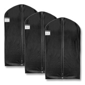 "HangerMaster Suit Garment Covers 110cm (44"") Black Breathable Protective Case & Bag - 3 Pack"
