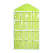LUOEM Over Door Hanging Bag Hanging Storage Pocket for Shoe Rack Hanger Toy Books Bra Tidy Organiser Green