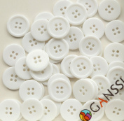 """GANSSIA 0.59"""" (15mm) Sewing Flatback Buttons Coloured White Pack of 160 Pcs"""