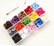 """GANSSIA 0.59"""" (15mm) Sewing Flatback Buttons 15 Colours Multi Pack of 300 Pcs with Box"""