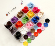 """GANSSIA 0.78"""" (20mm) Sewing Flatback Buttons 15 Colours Multi Pack of 150 Pcs with Box"""