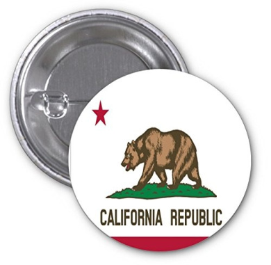 Calexit# California to Leave US Calexit 2 PACK of 7.6cm Buttons Flare by Debbie's Designs